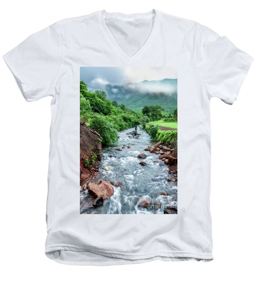 Men's V-Neck T-Shirt featuring the photograph Stream by Charuhas Images