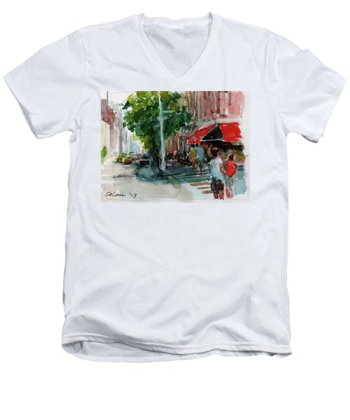 Streetscape With Red Awning - 82nd Street Market Men's V-Neck T-Shirt