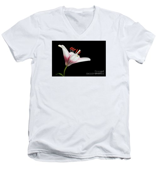 Men's V-Neck T-Shirt featuring the photograph Study Of A Lily In Magenta, White, And Red #2 By Flower Photographer David Perry Lawrence by David Perry Lawrence