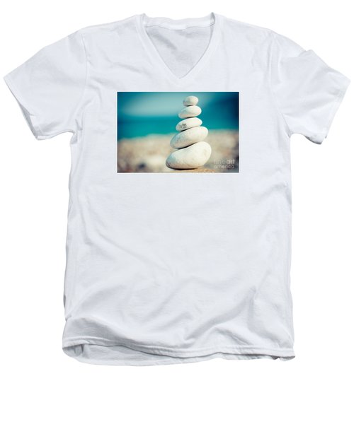 Stupa At Sea Coast Seascape Buddha Men's V-Neck T-Shirt