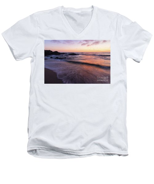 Men's V-Neck T-Shirt featuring the photograph Sunset Over Laguna Beach   by Vincent Bonafede