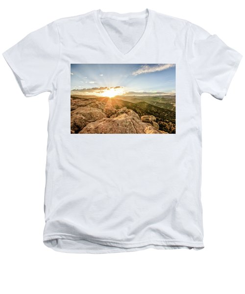 Men's V-Neck T-Shirt featuring the photograph Sunset Over The Mountains Of Flaggstaff Road In Boulder, Colorad by Peter Ciro