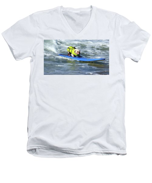 Surfing Dog Men's V-Neck T-Shirt by Thanh Thuy Nguyen