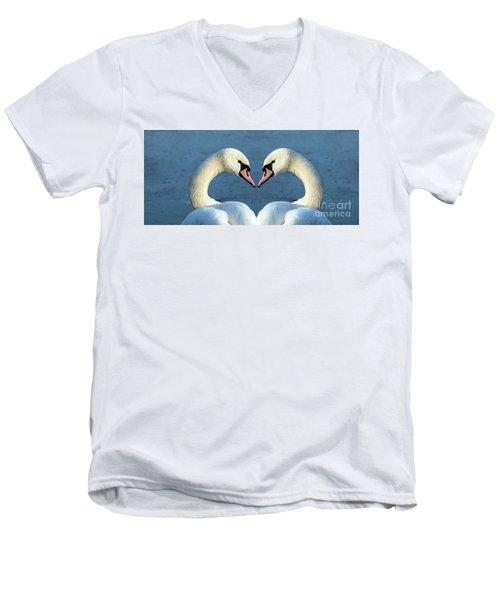 Swans Portrait Men's V-Neck T-Shirt