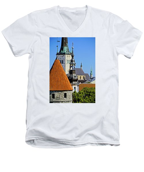Tallinn Steeples Men's V-Neck T-Shirt by Dennis Cox WorldViews