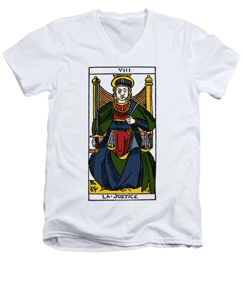 Tarot Card Justice Men's V-Neck T-Shirt by Granger