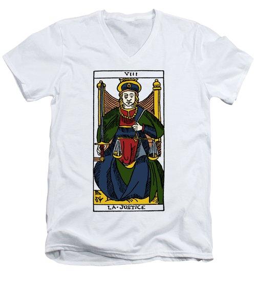Tarot Card Justice Men's V-Neck T-Shirt