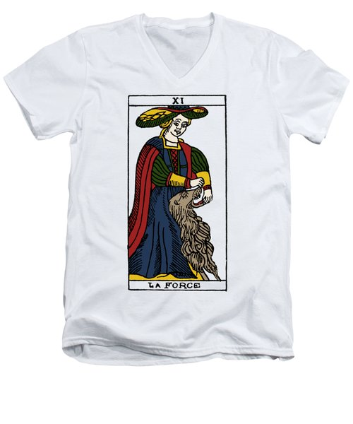 Tarot Card Strength Men's V-Neck T-Shirt by Granger