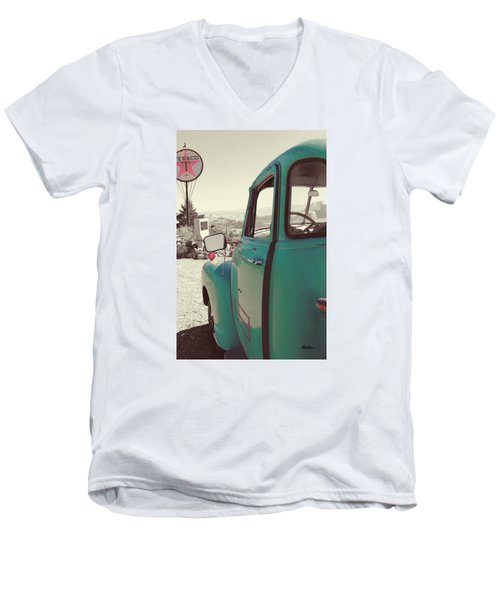 Men's V-Neck T-Shirt featuring the photograph Techatticup Mine Ghost Town Nv by Marti Green