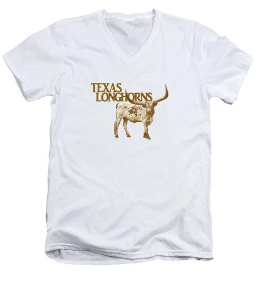 Texas Longhorns Men's V-Neck T-Shirt by Priscilla Burgers