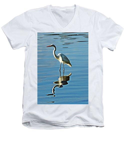 The Egret Men's V-Neck T-Shirt by Allen Beilschmidt