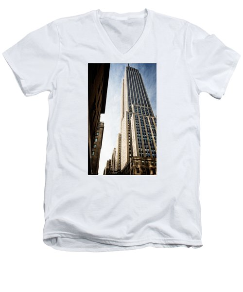 The Empire State Building Men's V-Neck T-Shirt by Sabine Edrissi