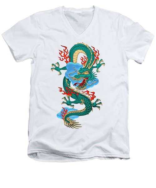 The Great Dragon Spirits - Turquoise Dragon On Rice Paper Men's V-Neck T-Shirt by Serge Averbukh