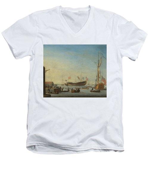 The Launch Of A Man Of War Men's V-Neck T-Shirt by Robert Woodcock