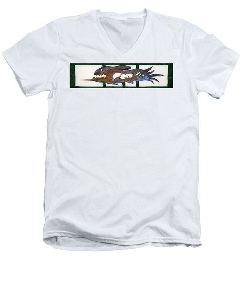 Men's V-Neck T-Shirt featuring the mixed media The Prozak Fish by Robert Margetts