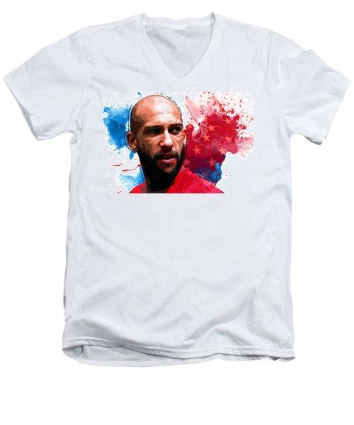 Tim Howard Men's V-Neck T-Shirt by Semih Yurdabak