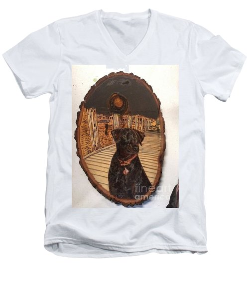 Men's V-Neck T-Shirt featuring the pyrography Timber by Denise Tomasura