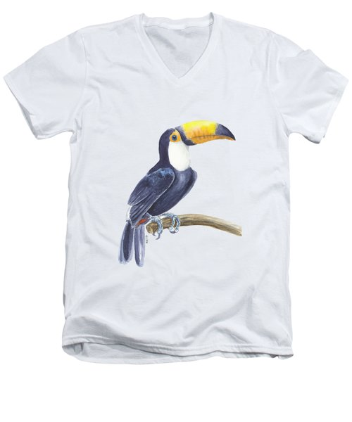 Toucan, Tropical Bird Men's V-Neck T-Shirt by Katerina Kirilova