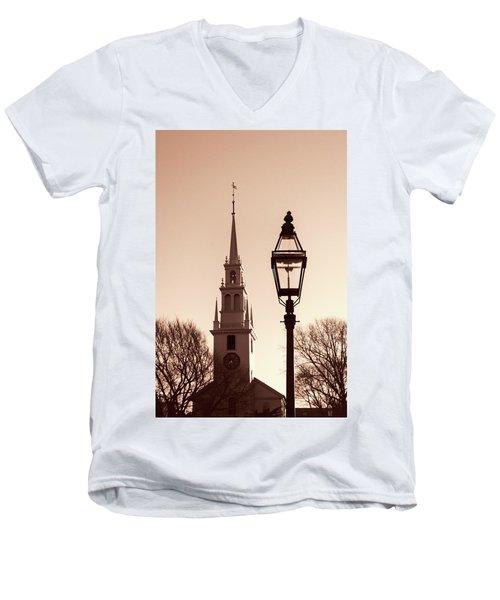 Trinity Church Newport With Lamp Men's V-Neck T-Shirt by Nancy De Flon