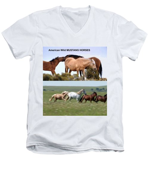 Twin Photos Awesome North American Mustangs Horses Cowboys Photography See On Posters Pillows Curtai Men's V-Neck T-Shirt by Navin Joshi