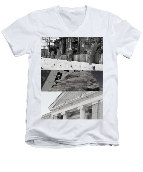 Men's V-Neck T-Shirt featuring the photograph Uptown Library by Susan Stone