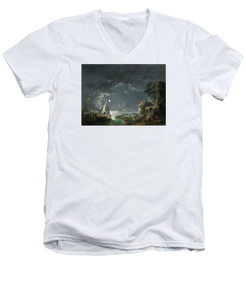 Men's V-Neck T-Shirt featuring the painting View Of A Moonlit Mediterranean Harbor by Carlo Bonavia