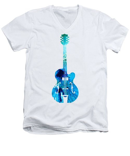 Men's V-Neck T-Shirt featuring the painting Vintage Guitar 2 - Colorful Abstract Musical Instrument by Sharon Cummings