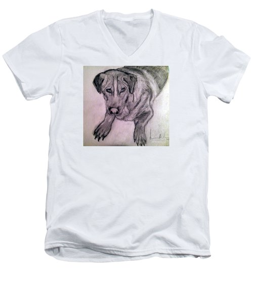 Men's V-Neck T-Shirt featuring the painting Walle by Brindha Naveen