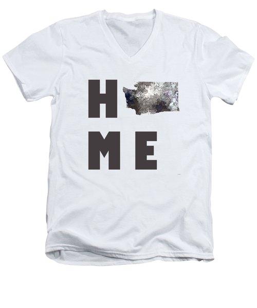 Men's V-Neck T-Shirt featuring the digital art Washington State Map by Marlene Watson