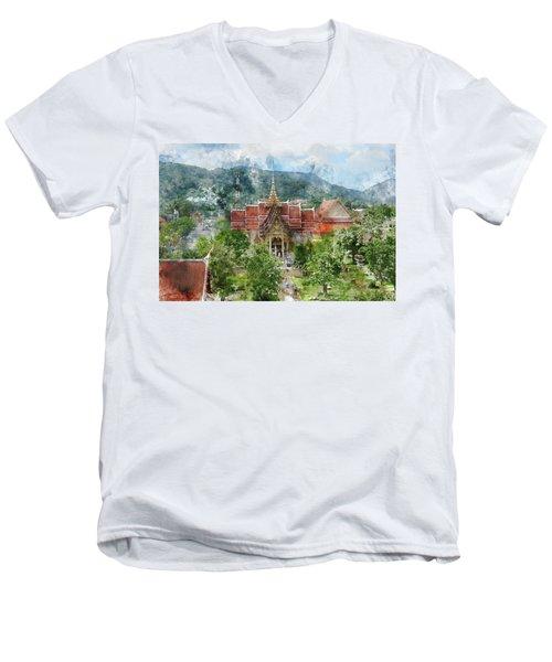 Wat Chalong In Phuket Thailand Men's V-Neck T-Shirt