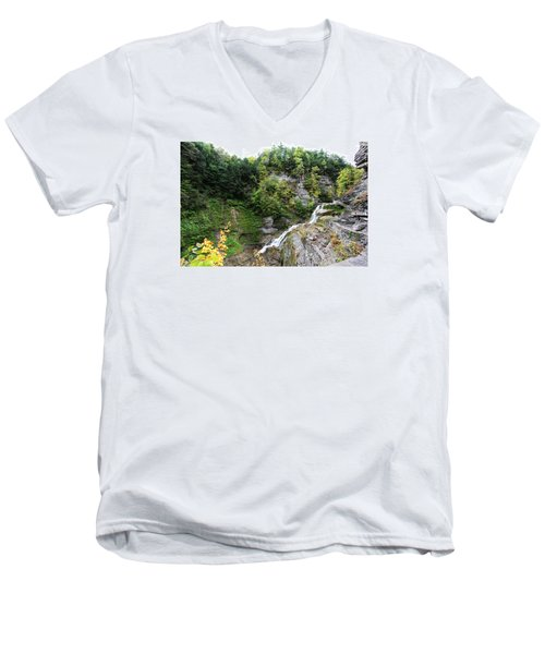 Men's V-Neck T-Shirt featuring the photograph Waterfall At Robert Treman State Park II by Trina  Ansel