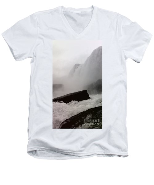 Waterfall Men's V-Neck T-Shirt by Raymond Earley