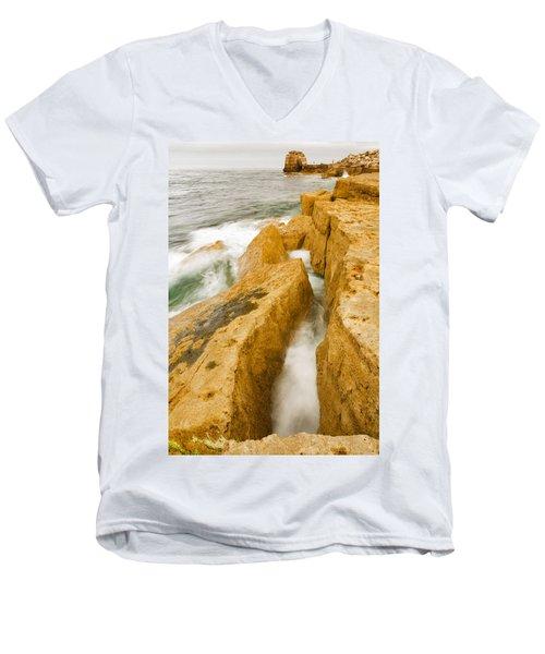 Waves Crashing Over Portland Bill Men's V-Neck T-Shirt