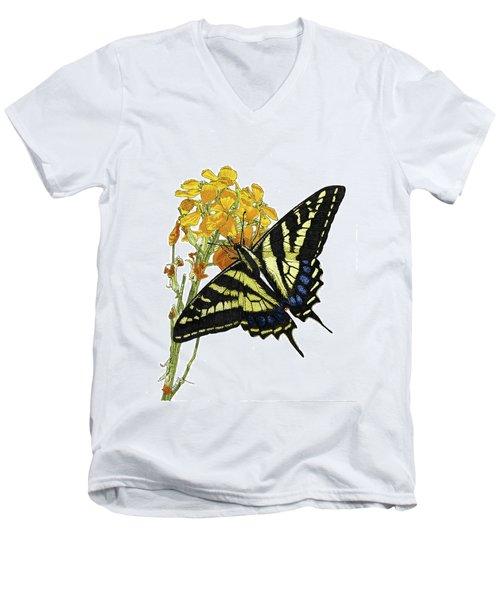 Western Tiger Swallowtail On A Western Wallflower Men's V-Neck T-Shirt