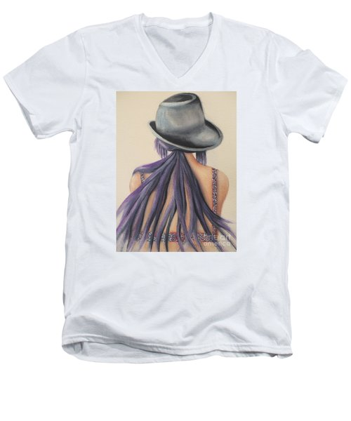 Men's V-Neck T-Shirt featuring the painting What Lies Ahead Series   by Chrisann Ellis