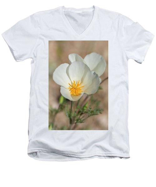 Men's V-Neck T-Shirt featuring the photograph White Poppies  by Saija Lehtonen