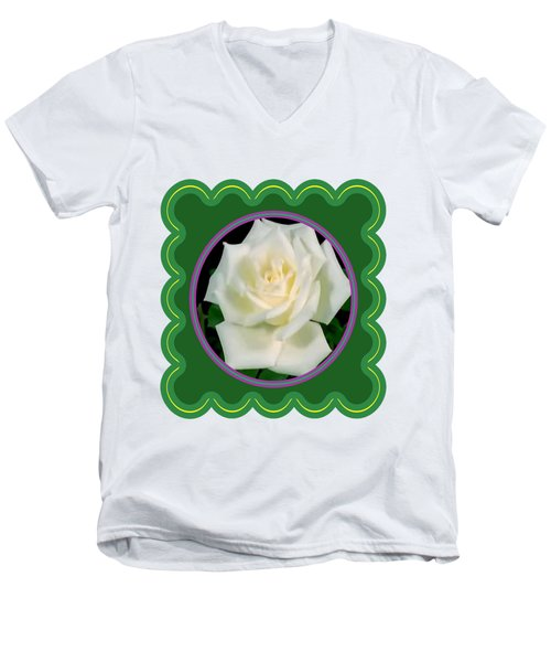 White Rose Flower Floral Posters Photography And Graphic Fusion Art Navinjoshi Fineartamerica Pixels Men's V-Neck T-Shirt by Navin Joshi