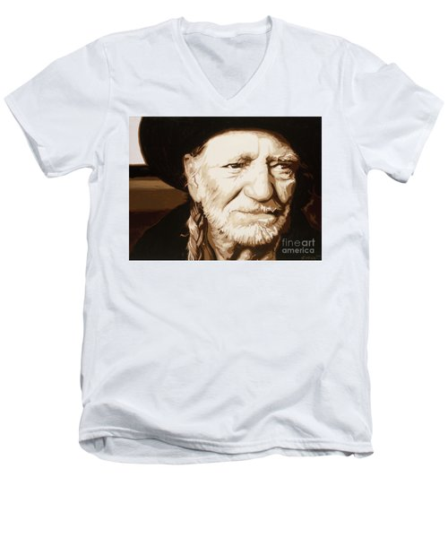 Men's V-Neck T-Shirt featuring the painting Willie Nelson by Ashley Price