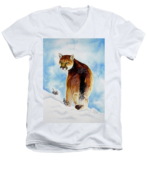 Winter Cougar Men's V-Neck T-Shirt
