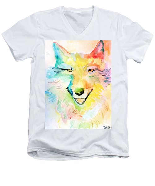 Men's V-Neck T-Shirt featuring the painting Wolfie by Denise Tomasura