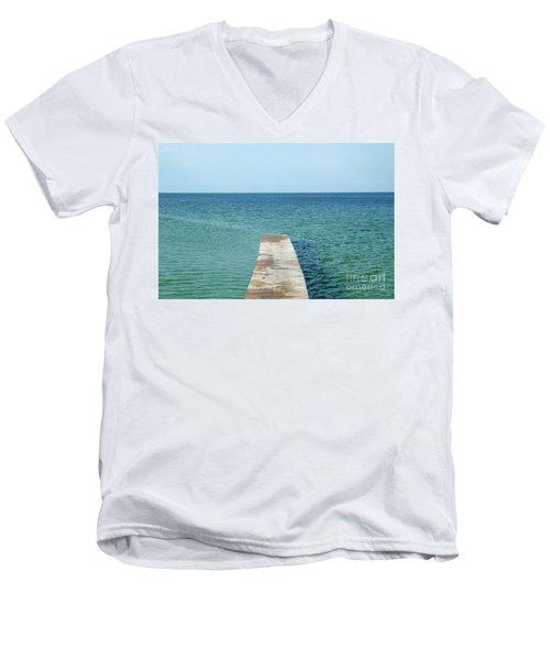 Men's V-Neck T-Shirt featuring the photograph Wooden Bath Pier by Kennerth and Birgitta Kullman