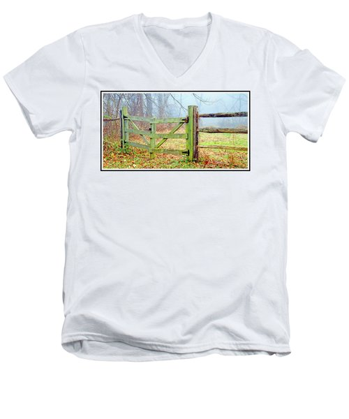 Wooden Fence On A Foggy Morning Men's V-Neck T-Shirt by A Gurmankin