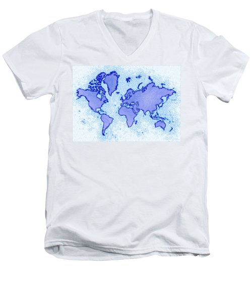 World Map Airy In Blue And White Men's V-Neck T-Shirt by Eleven Corners