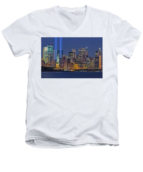 Men's V-Neck T-Shirt featuring the photograph World Trade Center Wtc Tribute In Light Memorial II by Susan Candelario