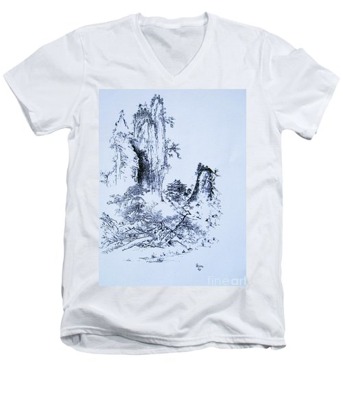Men's V-Neck T-Shirt featuring the painting Yama No Fukei by Roberto Prusso