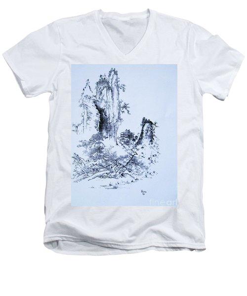 Yama No Fukei Men's V-Neck T-Shirt by Roberto Prusso