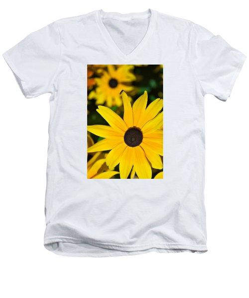 Yellow Flowers Men's V-Neck T-Shirt by Bob Pardue