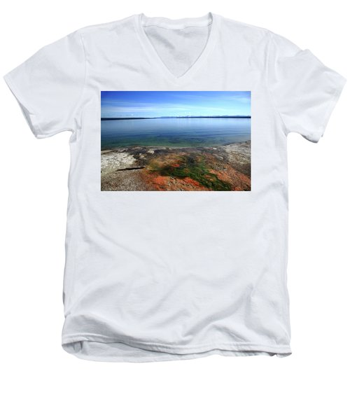 Men's V-Neck T-Shirt featuring the photograph Yellowstone Lake Colors by Frank Romeo