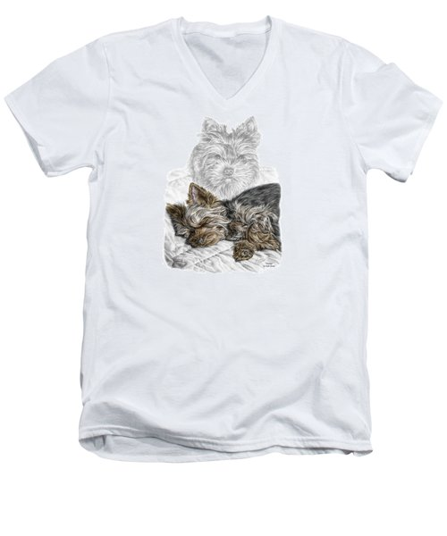 Men's V-Neck T-Shirt featuring the drawing Yorkie - Yorkshire Terrier Dog Print by Kelli Swan