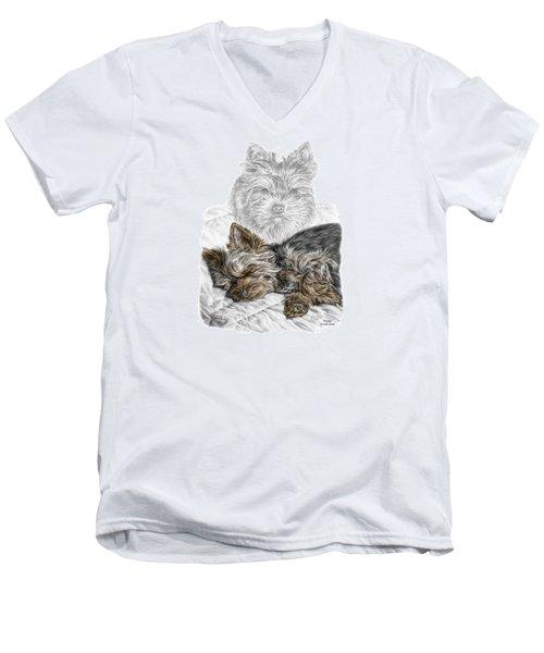 Yorkie - Yorkshire Terrier Dog Print Men's V-Neck T-Shirt by Kelli Swan